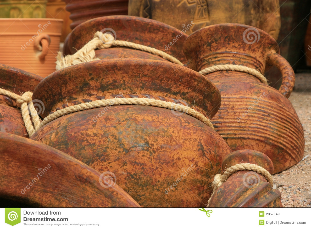 Pottery Background With Rope Ties Royalty Free Stock Images - Image ...