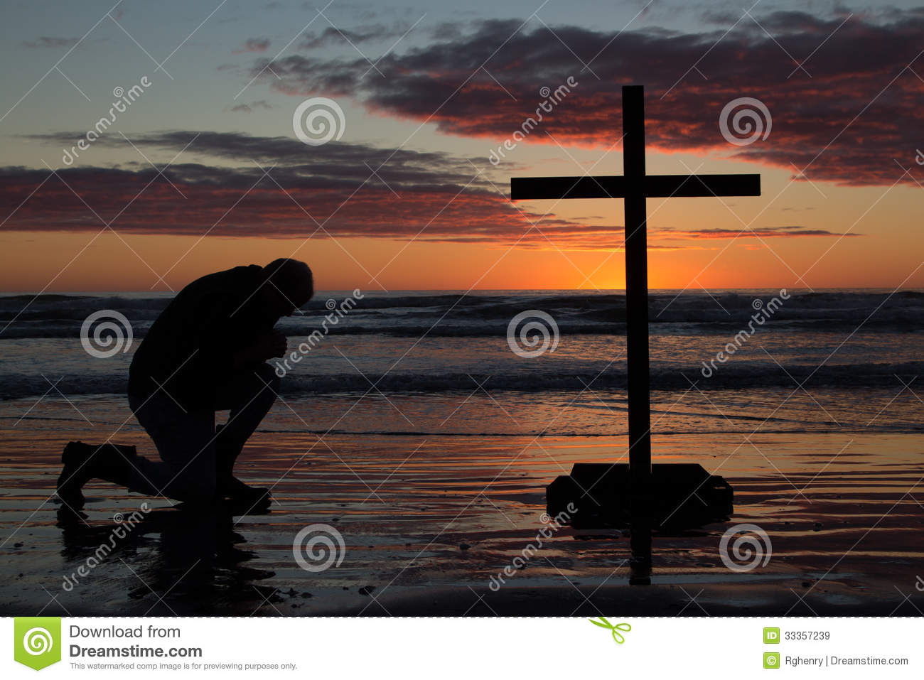Man Kneeling Cross Royalty Free Stock Images - Image: 33357239