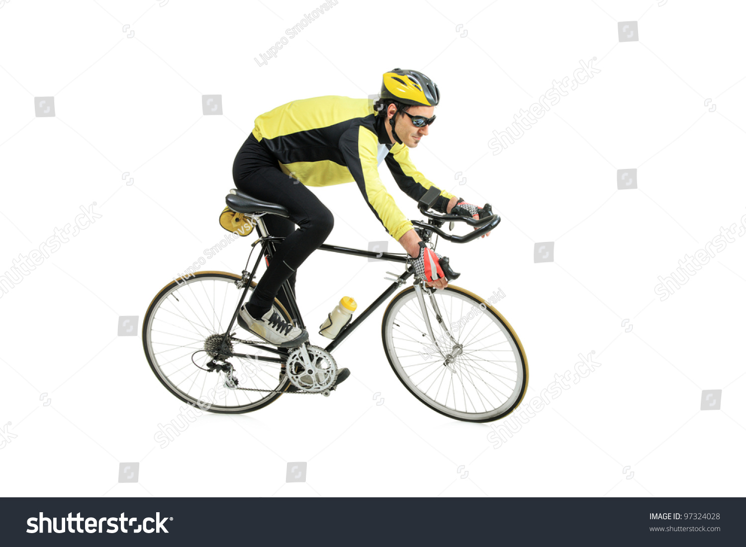 Young Man Riding A Bicycle Isolated Against White Background Stock ...