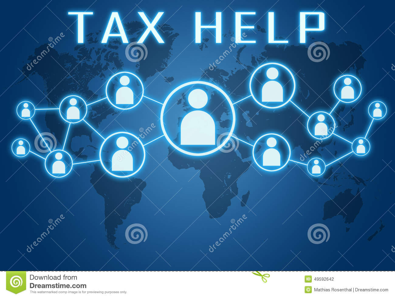 Tax Help concept on blue background with world map and social icons.