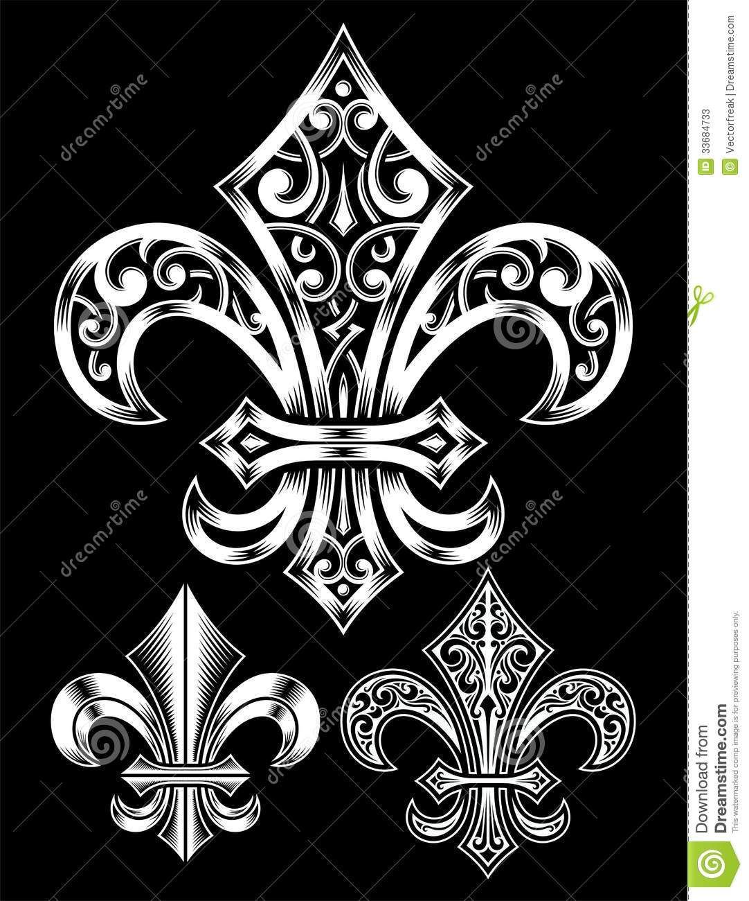 Ornate Fleur De Lis Vector Set Stock Photos - Image: 33684733