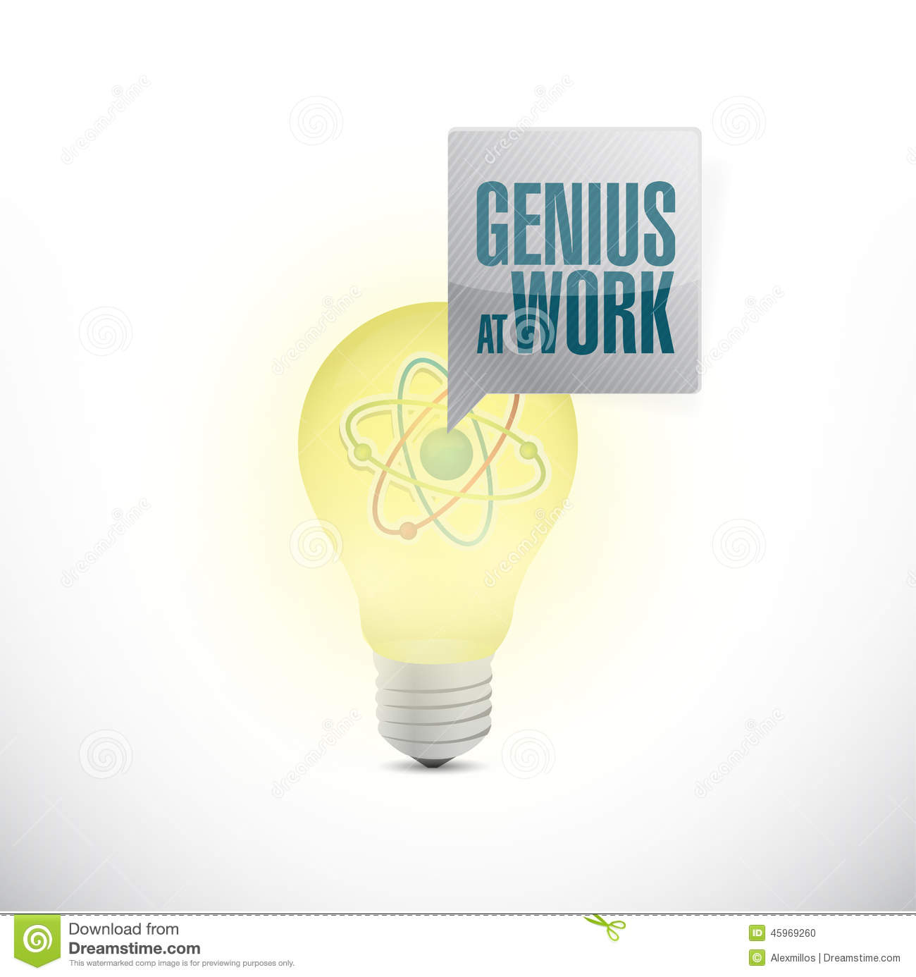 Genius At Work And Light Bulb Stock Illustration - Image: 45969260