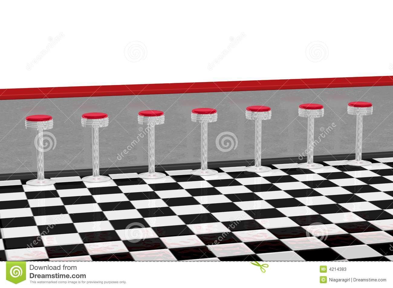 ... checker floor. Top of 3D illustration is plain white for additions