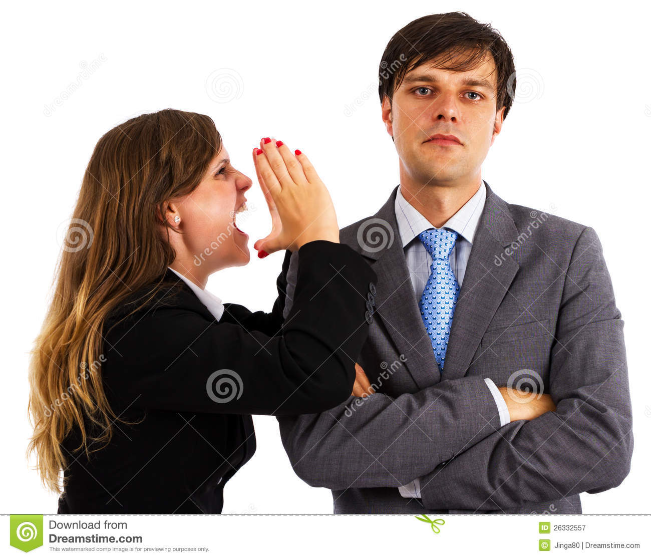 Two business colleagues having an argument over white background.