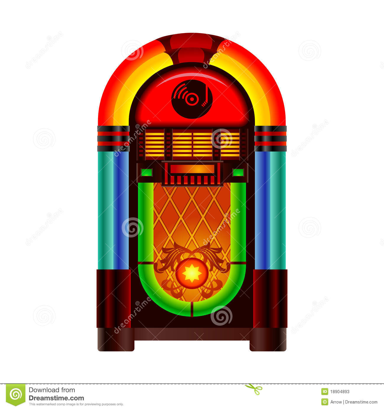 Retro jukebox music and dance player on white background.
