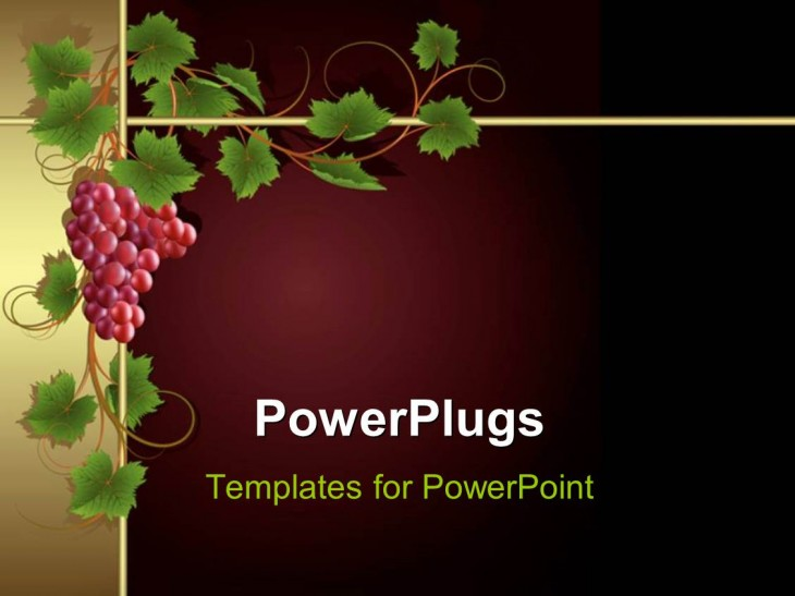 1128x846 PowerPoint Template: a bunch of grapes with maroon background (3351)