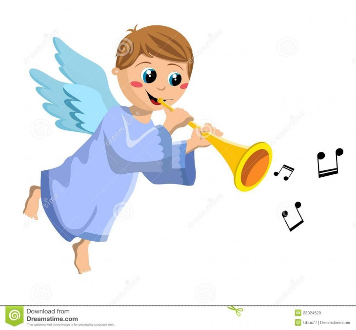 1300x1204 Christmas angel kid flying and playing trumpet isolated on white ...