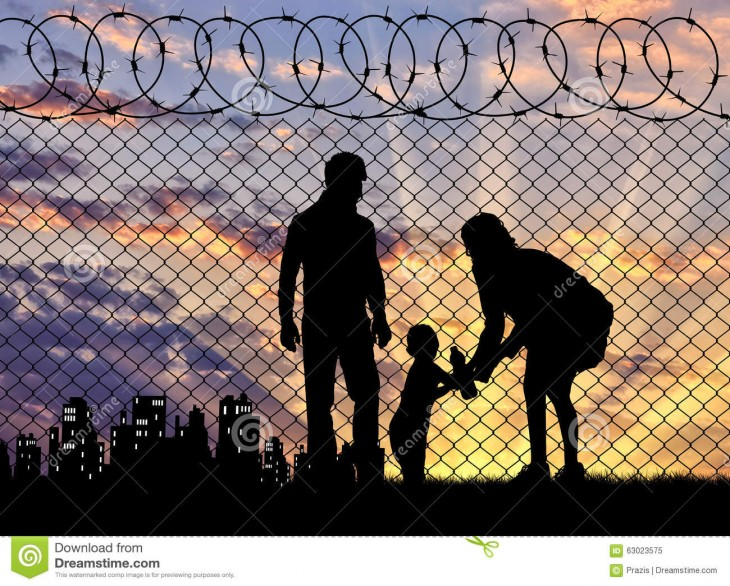 1300x1045 refugee-families-concept-family-refugees-near-fence-border-background ...