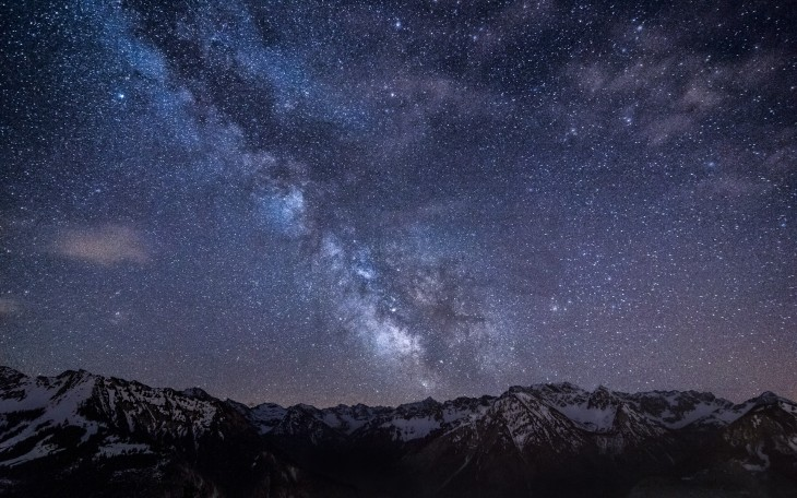 1920x1200 Mountains nature outer space stars milky way alps skyscapes night sky ...