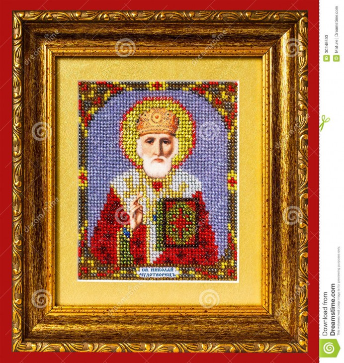 1233x1300 Icon St. Nicholas isolated on red background.