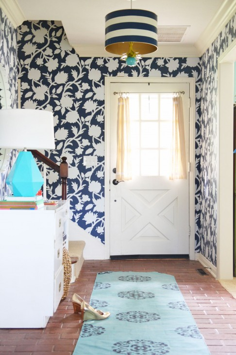 1568x2352 Entryway makeover with graphic floral wallpaper (Thibaut Cabrera in ...
