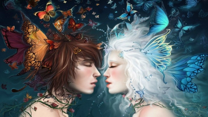 1920x1080 fairy gods love romance mood emotions kiss women females girls men ...